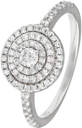 Revere Sterling Silver Cubic Zirconia Halo Cluster Ring