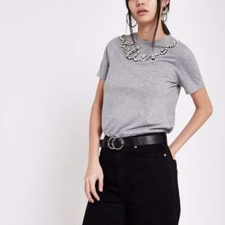 River Island Womens Grey pearl embellished T-shirt