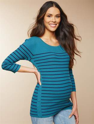 Motherhood Maternity Ribbed Button Detail Maternity Sweater