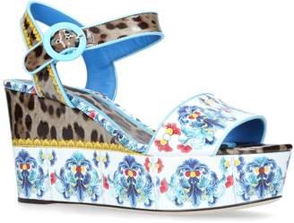 Dolce & Gabbana Majolica and Leopard Wedge Sandals