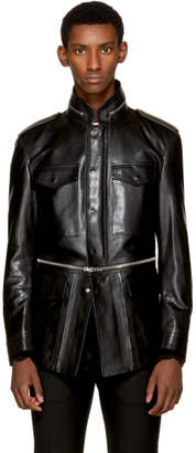 Alexander McQueen Black Leather Military Jacket