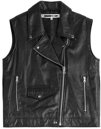 McQ Fringed Leather Biker Vest
