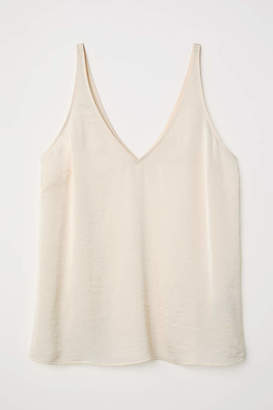 H&M V-neck Satin Camisole Top - Natural white - Women