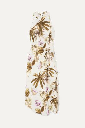 Vince Floral-print Crinkled-crepe Halterneck Midi Dress - White