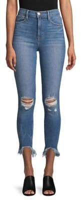 Frame Ali Distressed High-Rise Cropped Jeans