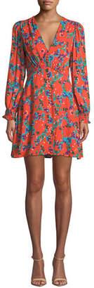 Saloni Eve Printed Long-Sleeve Mini Dress