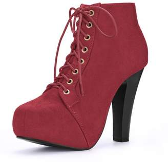 Unique Bargains Womens Round Toe High Heel Platform Lace Up Bootiess