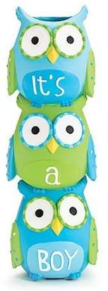 Burton It's A Boy Blue Owl Stacked Vase for Baby Nursery Decor or Baby Shower by &