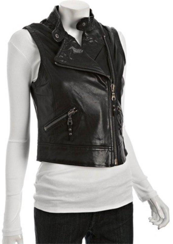 For Joseph black washed leather 'Friday' vest