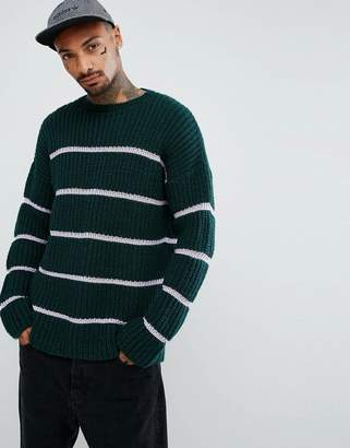 Asos DESIGN Textured Striped Sweater In Bottle Green