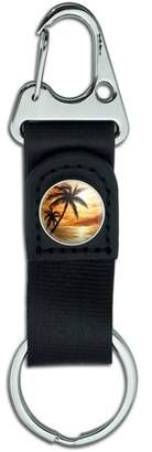 Generic Orange Sunset Palm Tree Hawaii Paradise Belt Clip On Carabiner Leather Keychain Fabric Key Ring