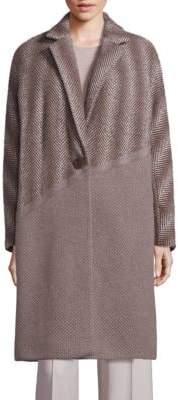 Lafayette 148 New York Magnolia Wool, Alpaca & Cashmere Ombre Herringbone Coat