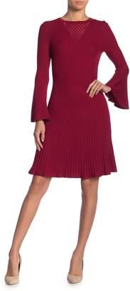 Taylor Pointelle Bell Sleeve Sweater Dress