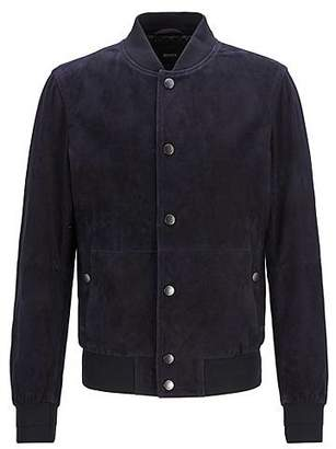 Regular-fit bomber-style jacket in lightweight suede