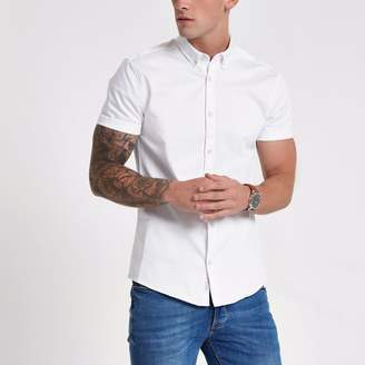 River Island Mens White short sleeve muscle fit denim shirt