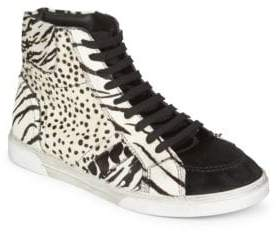 Saint Laurent Joe Animal Print High-Top Sneakers