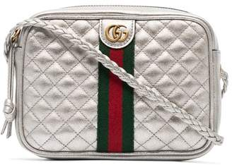 Gucci silver leather mini quilted bag with webbing