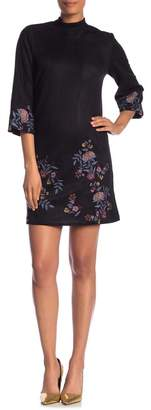 ABS by Allen Schwartz Collection Faux Suede Floral Embroidered Trim Dress