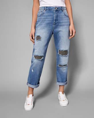 Ted Baker GRANNYA Sparkle abrasion boyfriend jeans