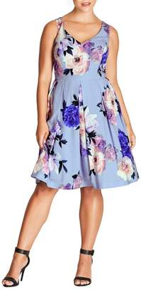 City Chic Soft Blues Fit & Flare Dress