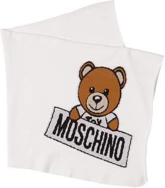 Moschino Bear Print Cotton & Wool Blend Blanket