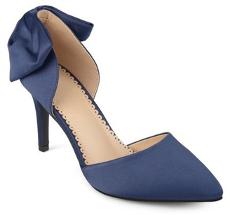 Co Generic Brinley Womens Satin D'orsay Pointed Toe Bow Pumps