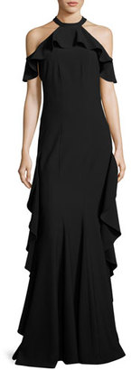 ZAC Zac Posen Esmerelda Cold-Shoulder Ruffle Gown, Black $790 thestylecure.com