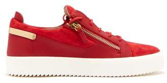Giuseppe Zanotti Frankie Leather And Suede Low Top Trainers - Mens - Red