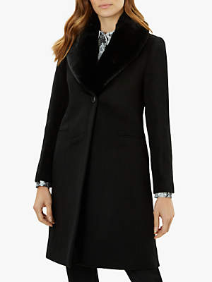 Jaeger Single Breasted Faux Fur Collar Wool Coat, Black