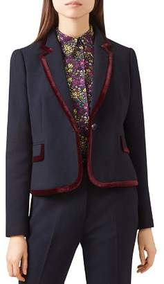 Hobbs London Celia Velvet-Trim Blazer - 100% Exclusive