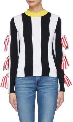 MSGM Bow cutout sleeve stripe sweater