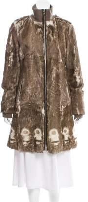 Prada Sport Leather-Accented Fur Coat