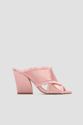 Na Kd Shoes Satin Cross Mule Heels Champagne