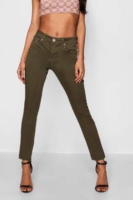 boohoo Khaki Denim Skinny Jeans