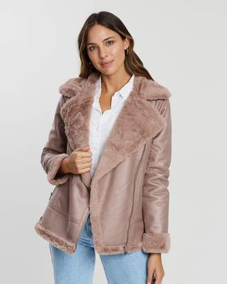 Dorothy Perkins Faux Leather Shearling Jacket