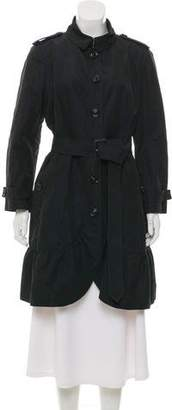 Burberry Ruffle-Accented Knee-Length Coat