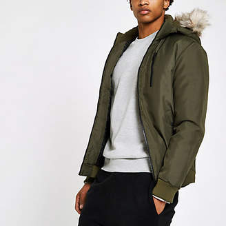 River Island Only and Sons khaki faux fur trim coat
