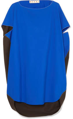 Marni Oversized Cape-back Two-tone Cotton Top - Blue