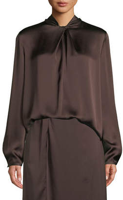f354e4da162d7 Vince Knotted High-Neck Log-Sleeve Silk Blouse