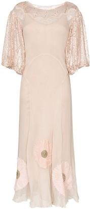 One Vintage floral appliqué maxi-dress