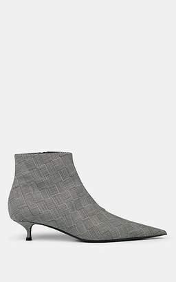 Balenciaga Women's Knife Checked Ankle Boots - Light Gray