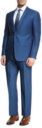Armani Collezioni Birdseye Wool Two-Piece Suit, Ocean Blue