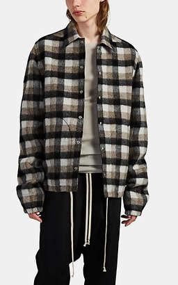 Rick Owens Men's Plaid Wool Coach's Jacket - Black