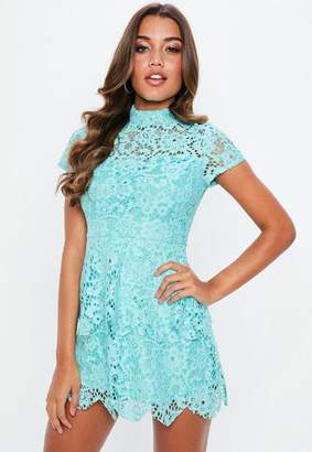 Missguided Blue Short Sleeve Lace High Neck Dress