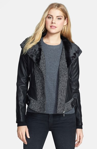 GUESS Faux Fur Collar Mixed Media Jacket
