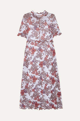 See by Chloe Ruffled Floral-print Stretch-gauze Dress - White