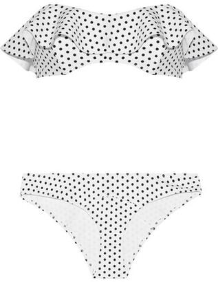 Natalie Polka-dot Bonded Bandeau Bikini - White