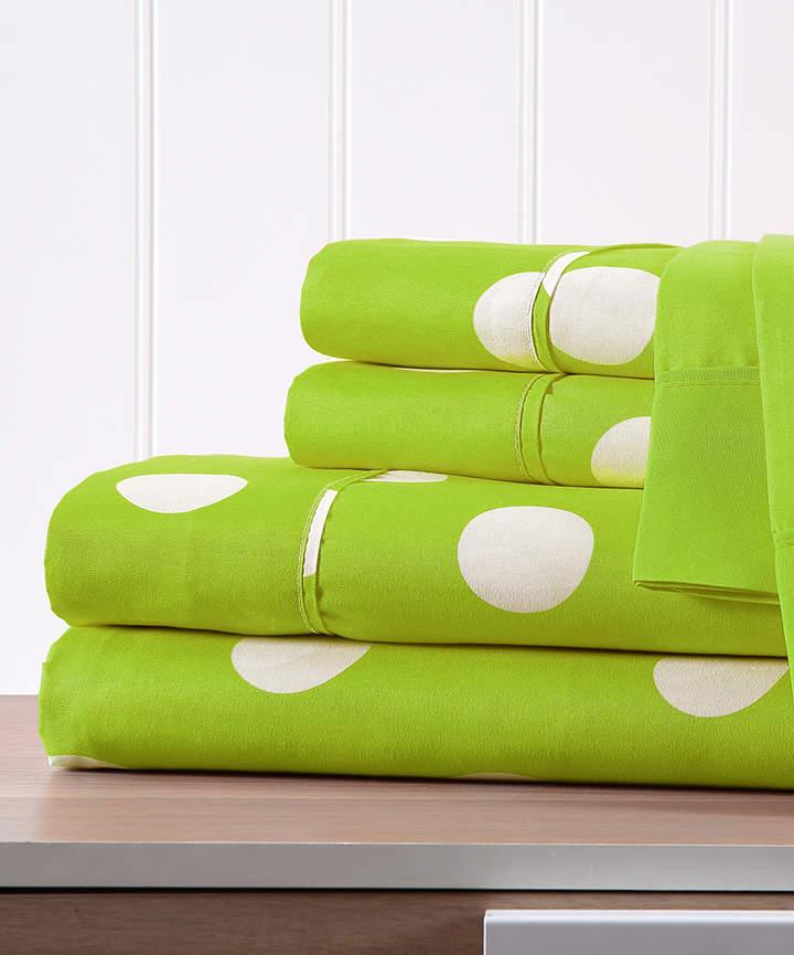 Lime Polka Dot Six-Piece Sheet Set