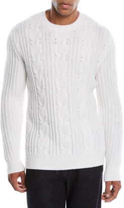 Ermenegildo Zegna Men's Cable-Knit Cashmere Pullover Sweater