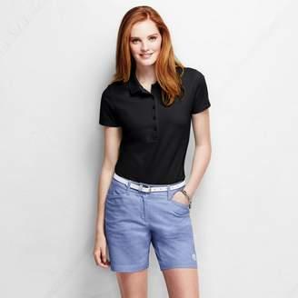 Lands' End Black Petite Slim Fit Short Sleeve Pique Polo Shirt